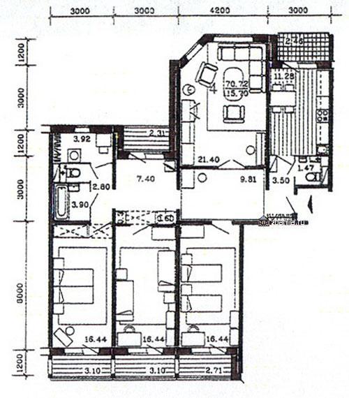 планировка четырёхкомнатной квартиры в жилом доме серии п55 м - п55м фото