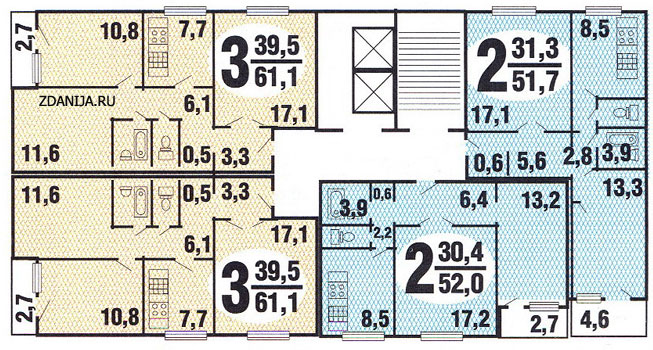 планировка жилой секции в доме серии п 30 - п30 серии домов фото