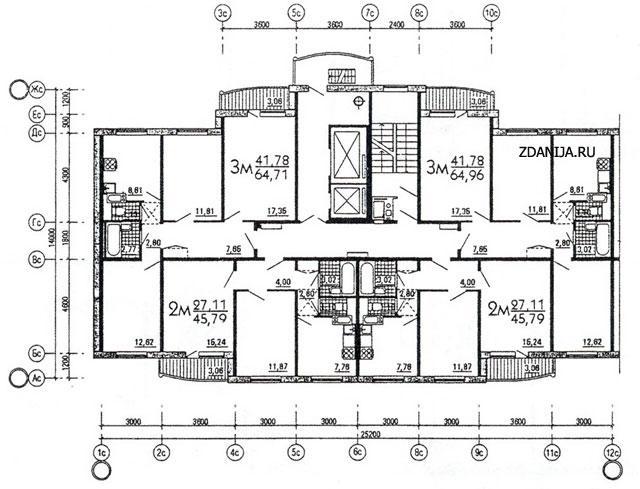 Рядовая (торцевая) блок-секция серии М6-1/17 ( ЭКО ) широтной ориентации - дома эко (М6-ЭКО) фото