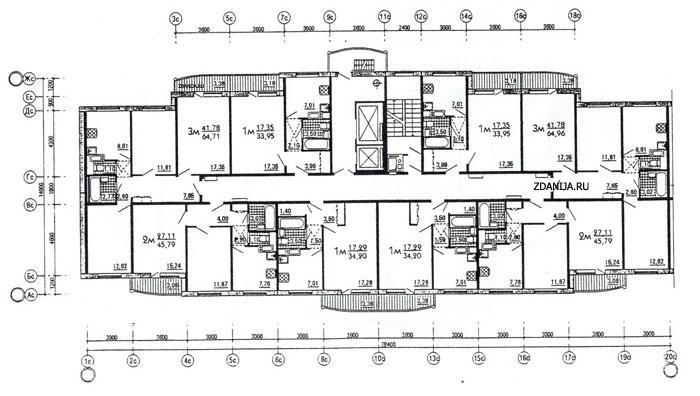 Рядовая (торцевая) блок-секция дома серии М6-2/17 ( ЭКО ) меридиональной ориентации - дома эко (М6-ЭКО) фото