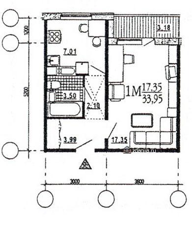 Однокомнатная квартира, B  [однокомнатные квартиры домов серии эко ] - дома эко (М6-ЭКО) фото