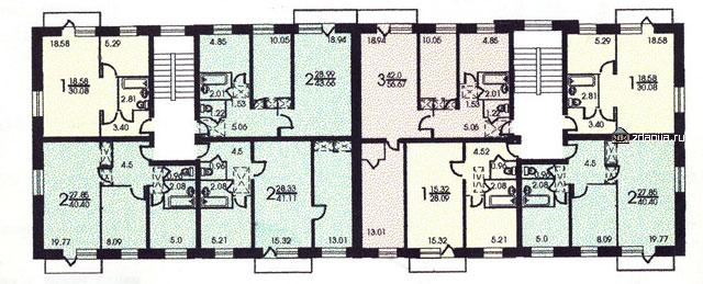 планировка жилой секции в доме серии 1-511 - 1-511/5 фото