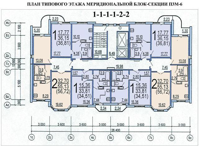 план типового этажа меридиональной блок-секции жилого дома п3м-6 - п3м-6 фото