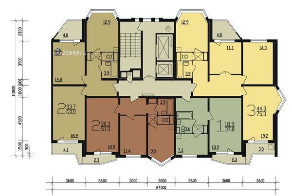 планировка типового этажа п44т  прямая секция 1-3 - Дома серии п44т фото