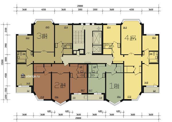 планировка жилой секции в доме серии п44т ( типовые планировки ) - Дома серии п44т фото