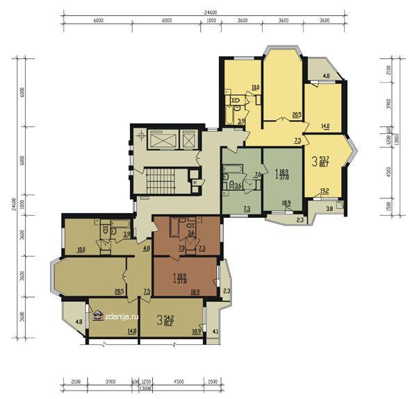 План типового этажа угловая секция тип 3-2 - Дома серии п44т фото