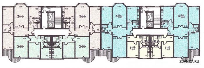 Планировка жилой секции дома серии п3м - п3м - серии домов фото
