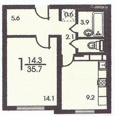 однокомнатная квартира планировка п3м - п3м - серии домов фото