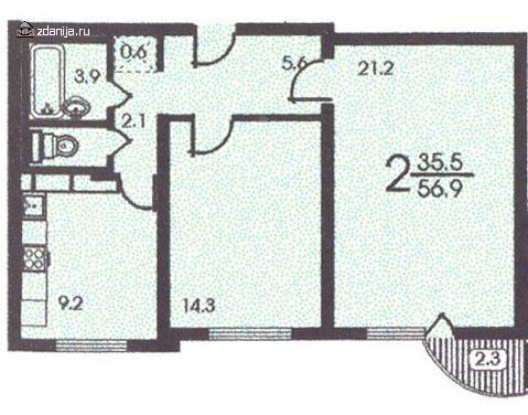 планировка двухкомнатной квартиры в жилом доме серии п 3м - п3м - серии домов фото