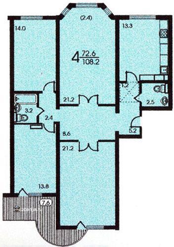 планировка четырёхкомнатной квартиры в жилом доме серии п3м - п3м - серии домов фото