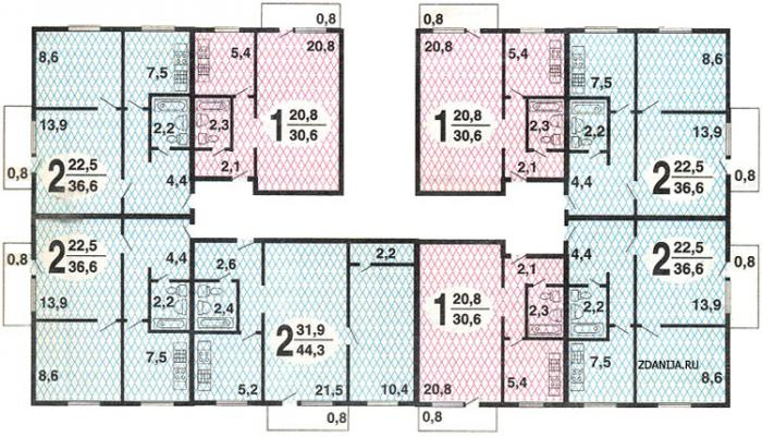 типовые планировки квартир дома серии II-18/9 - Серия II-18/9 фото
