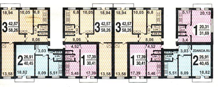 1-515/5 типовые планировки квартир дома серии - 1-515/5.