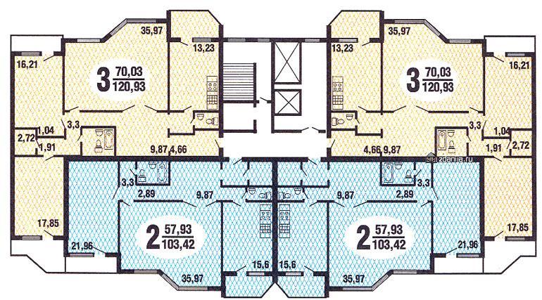 планировка жилой секции дома серии Призма - Призма фото