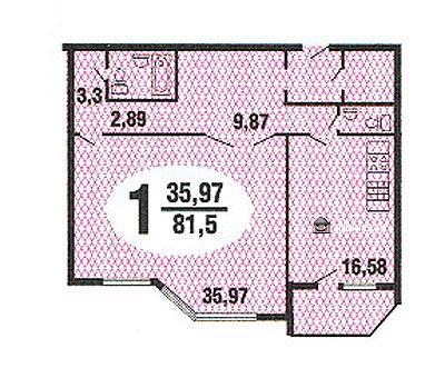 планировка однокомнатной квартиры серии Призма - Призма фото