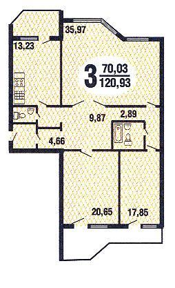 планировка трёхкомнатной квартиры серии Призма - Призма фото