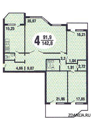 планировка четырёхкомнатной квартиры серии Призма - Призма фото