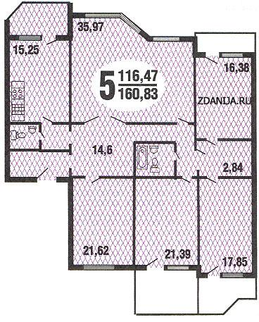 планировка пятикомнатной квартиры серии Призма - Призма фото
