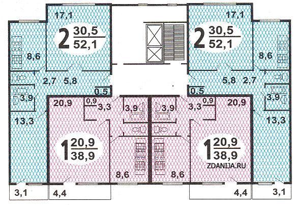 планировка жилой секции дома серии п46 - Дома серии п-46, п-47 фото