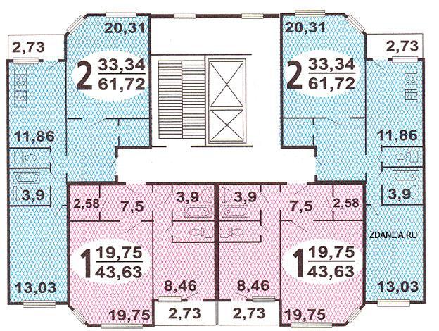 ип46с планировка квартир в жилой секции дома серии  - ИП-46С фото
