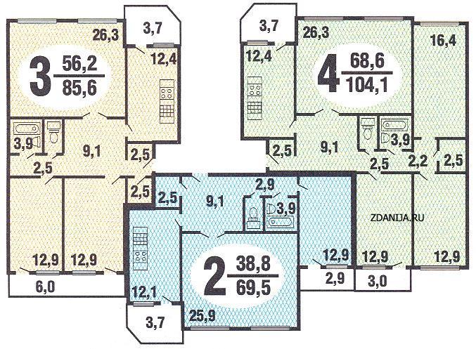 типовые планировки квартир в жилой секции дома серии бекерон - Бекерон фото