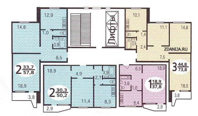 типовые планировки квартир в жилых домах серии п 44 - Дома серии П44, планировки квартир с размерами фото