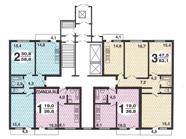 типовые планировки квартир в жилой секции дома серии рд 90 - РД-90 фото