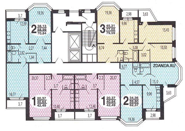 типовые планировки квартир в жилой секции дома серии В-2002 - B-2002 фото