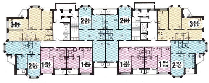 типовые планировки квартир в жилой секции дома серии И-7026 - Серия И-7026 фото
