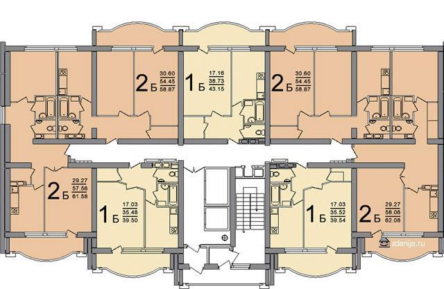ПБ-02 типовые планировки квартир в жилой секции - ПБ-02 фото