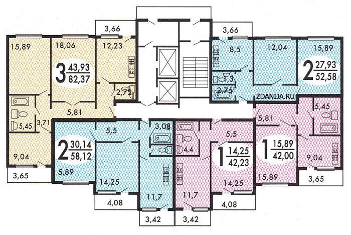 типовые планировки квартир в жилой секции дома серии  мэс-84 - МЭС-84 фото