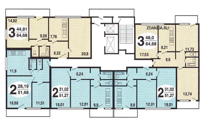типовые планировки квартир в жилой секции дома серии и491а - И-491А фото