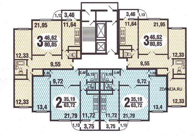 типовые планировки квартир в жилой секции дома серии  С222 - Дома серии С222 фото