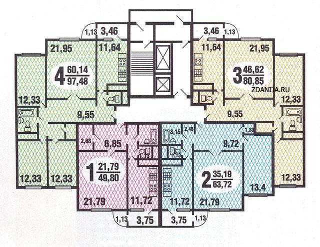 типовые планировки квартир в жилой секции дома серии  С222 - C222 ( дома серии С222) фото