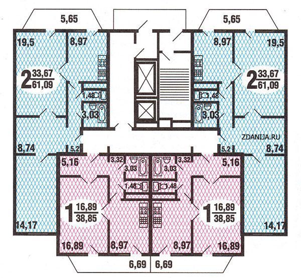 типовые планировки квартир в жилой секции дома серии С220 - С220 фото