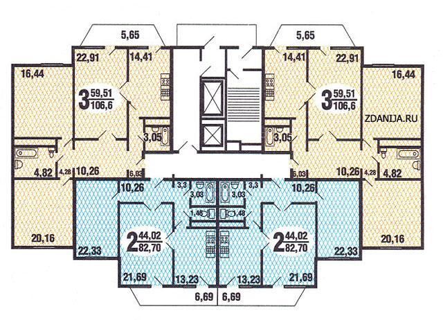 типовые планировки квартир в жилой секции дома серии C220 - С220 фото