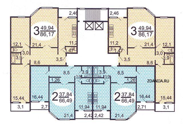 Типовые планировки квартир в жилой секции дома серии п55м - .