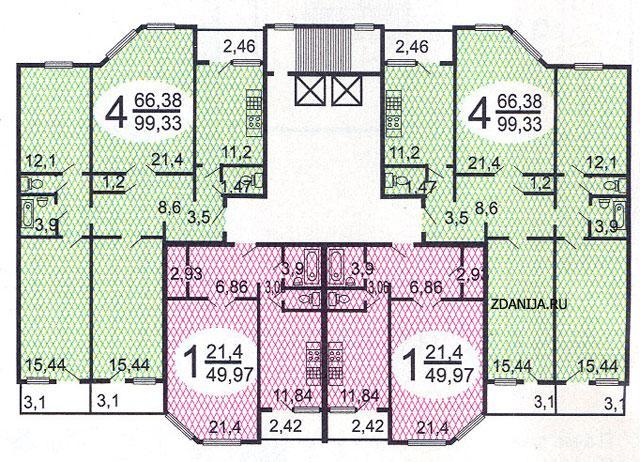 типовые планировки квартир в жилой секции дома серии п55м - п55м фото