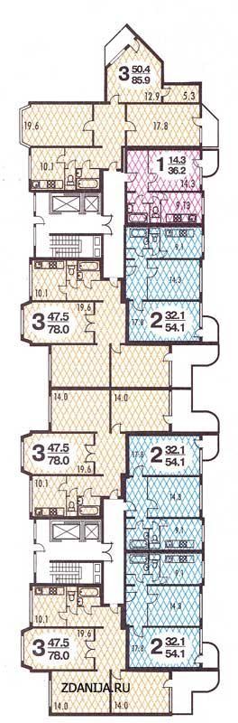 п3-м7-21 планировка квартир в жилых домах серии  - п3-м7 / 23 фото