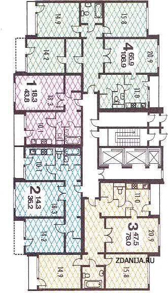 п3-м7-23 планировка квартир в жилой секции дома серии - п3-м7 / 23 фото