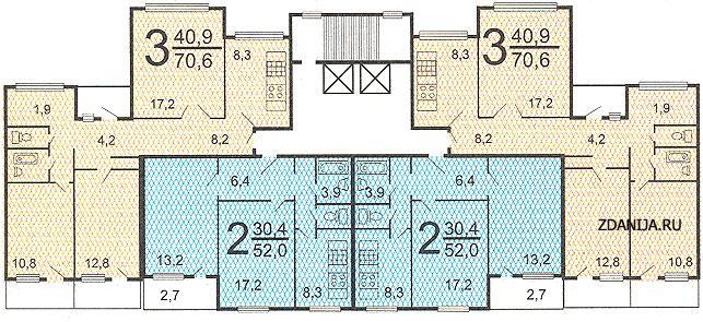 п55 типовые планировки квартир в жилой секции дома серии - Дома серии п55 фото