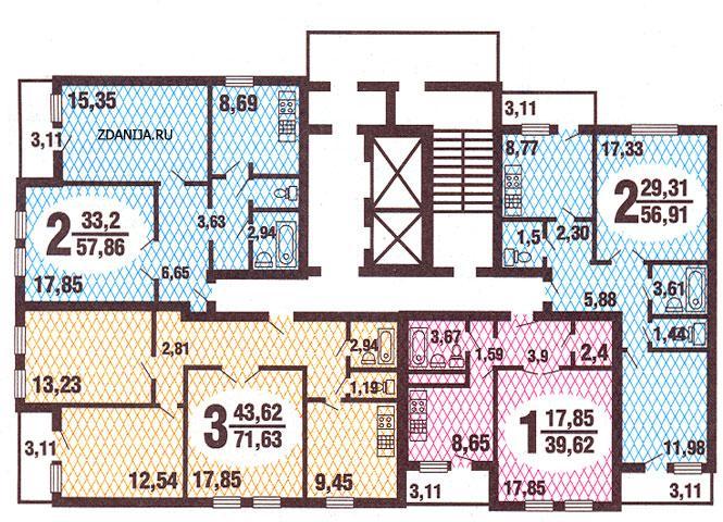Планировка квартир в жилых домах серии гмс-3 - дома гмс-3.