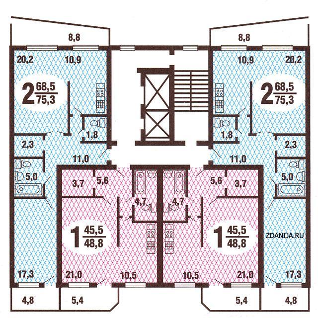 типовые планировки квартир в жилой секции дома серии  гмс3 - Дома ГМС-3 фото
