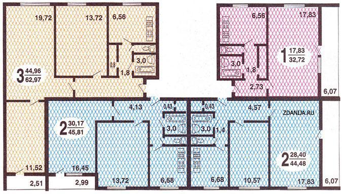 Планировки квартир серии 1605-АМ/12  ( иногда об. как 1605-12 ) - Дома серии 1605, 1605-АМ/9, 1605-АМ/12, планировка квартир фото