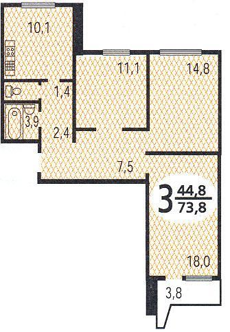 Планировка трёхкомнатной квартиры - Дома серии П44, планировки квартир с размерами фото
