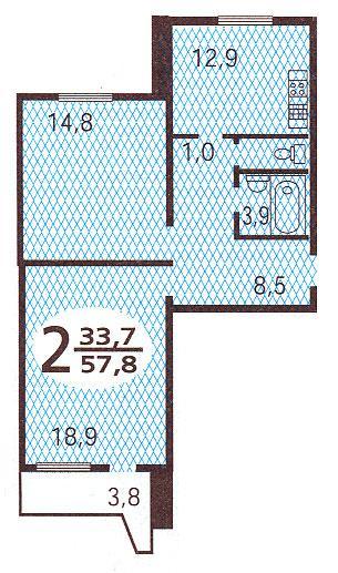Планировка двухкомнатной квартиры  ( серия П44 ) - Дома серии П44, планировки квартир с размерами фото