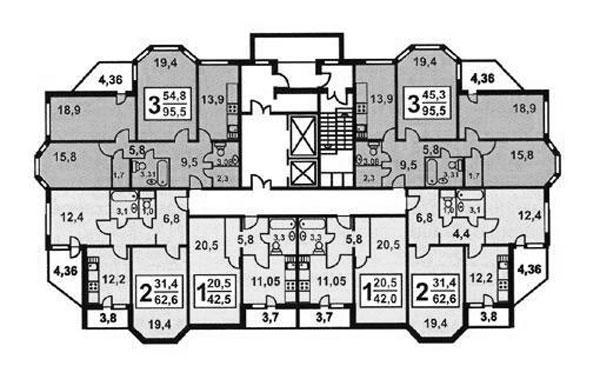 Планировка квартир в жилых домах серии и1723 - И-1723, планировки квартир фото