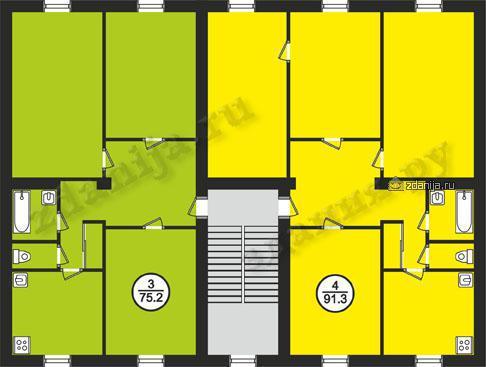 Планировки квартир в домах 1-410 - 1-410 (ранее счит. II-03) фото