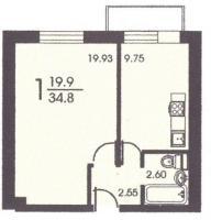 II-18 серия - жилые дома - Планировка однокомнатной квартиры  ( серия II 18)