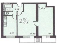 II-18 серия - жилые дома - Планировка двухкомнатной квартиры С ( серия II 18 )