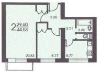 II-18 серия - жилые дома - Планировка двухкомнатной квартиры В ( серия II 18 )